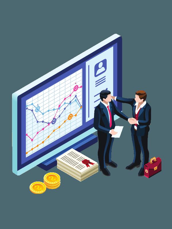 2 orang tanga pemasaran sedang mengevaluasi laporan penjualan. buat iklan digital murah akan membantu bisnismu makin laris dan maju