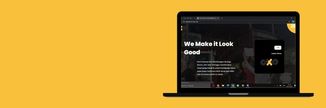 proyek terbaru kami untuk membuat web bisnis dasproduction dengan skema warna kuning dan hitam sesuai dengan skema warna logo yang sudah dimiliki oleh perusahaan.