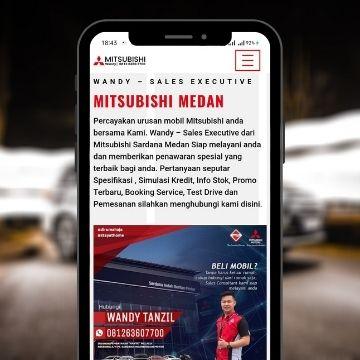 tampilan homepage web mitsubishimedan-dealer lengkap dengan info perusahaan dan salesman untuk membuat pengunjung lebih yakin