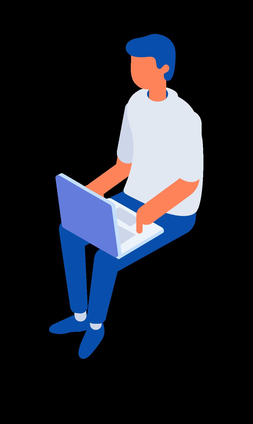 seorang pria sedag duduk di depan laptop , bekerja buat website