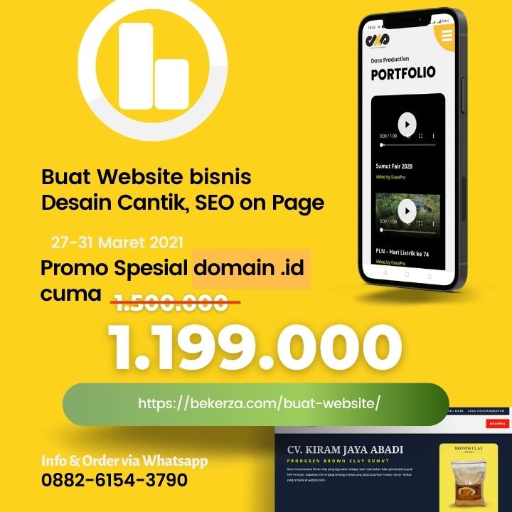 gambar desain promo buat website dengan background warna kuning untuk menarik perhatian.